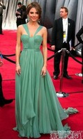 Maria Menounos Sage Green Dress On Oscar Awards 2012 Red Carpet Dress Simple Elegant Long Floor