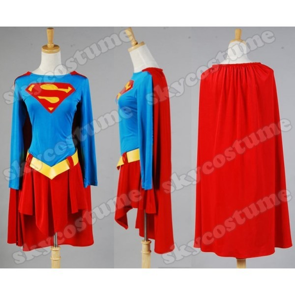 Supergirl Cosplay One-piece Adult Dress Outfit Cape Cosplay Costume Halloween Carnival Custom Made