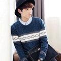 2016 Winter Cotton Sweater Men Brand O-neck Pullover Knitting Patterns Warm Sweaters Blusao Masculin Male Sweaters Coat M-XXL 50