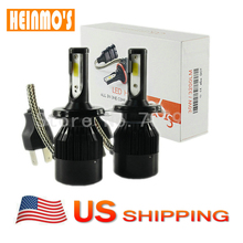 Led высокой мощности H4 фар 6400LM 6500 К Чистый белый 9003 HB2 передние фары H4 HI-LOW Луч двойной лампы высокого ближнего света США ДОСТАВКА