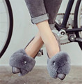 2016 Winter new han edition fashion giant real rabbit fur pointed diamond flat shallow warm women's shoes