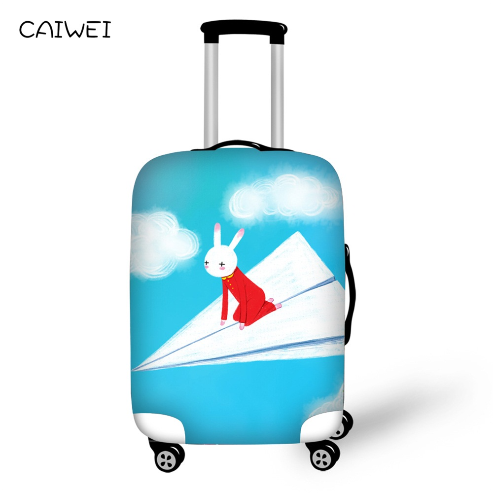 Thickest Suitcase Cover Cartoon Rabbit Prints for Trunk Case for 18-30 Suitcase Elastic Luggage Cover Travel Accessories