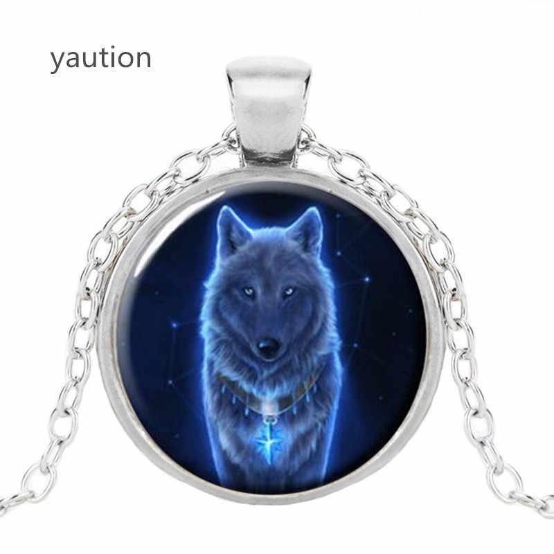 Vintage świecące wilk Cabochon tybetański srebrny szklany łańcuch Unisex naszyjnik