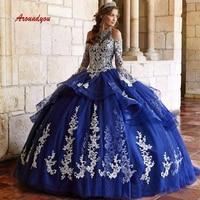 Navy Blue Quinceanera Dresses Ball Gown Long Prom Debutante Sweet 16 Dress vestidos de 15 anos