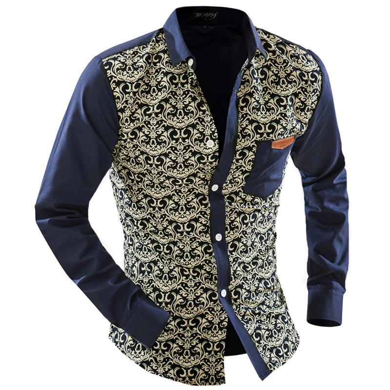 2015 men 39 s fashion men shirt floral blue and white long for Blue and white long sleeve shirt