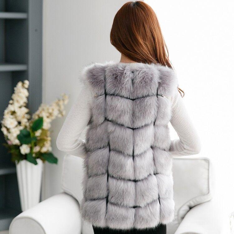 La Renard Vison De Long Pelo Taille Plus Femmes Mujer Chalecos Femal D'hiver Gilet Manteaux Vague Cut Manteau Fausse Fourrure Outwear 2018 F5qx7Rx