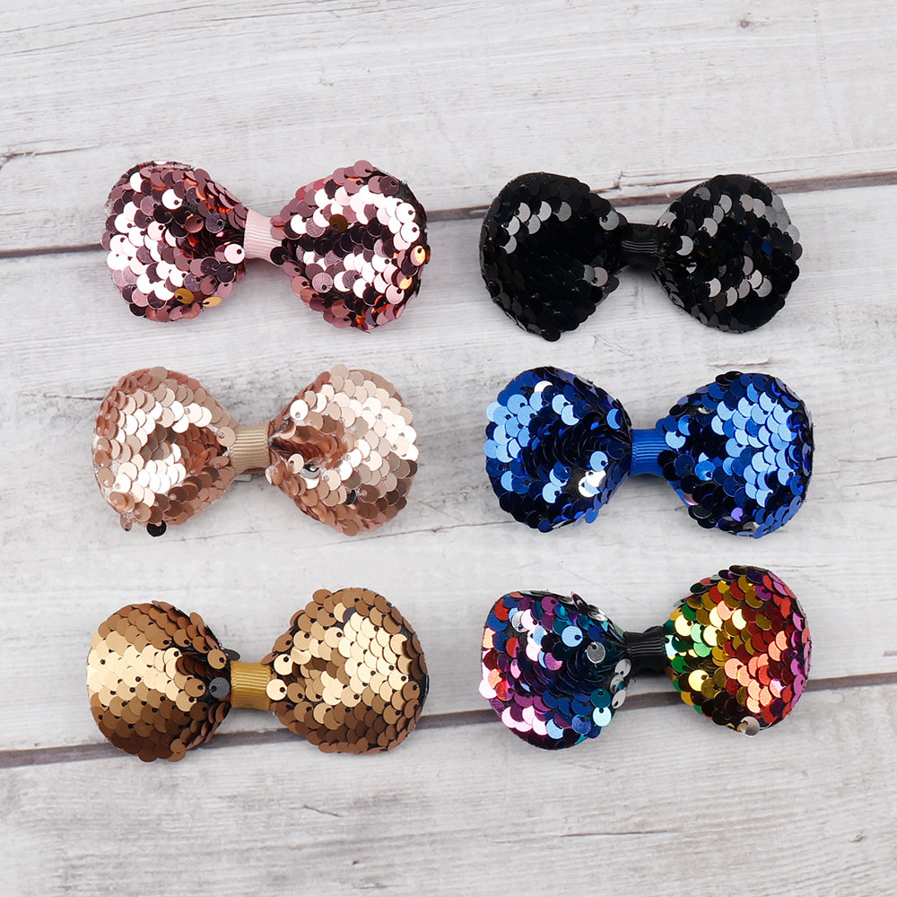 AHB 3 quot Small Reversible Sequin Hair Bows for Baby Girls Hair Clips Bowknot Hairpin Handmade Birthday Party Newborn Headwear in Hair Accessories from Mother amp Kids