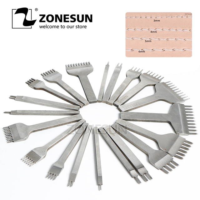 ZONESUN 3mm Distance Leather Hole Punch Stitching Chisel Tool Hole Size 1.5mm Pricking Lron Diamond Leather Craft Sewing Tool
