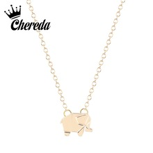Chereda Korean Style Elephant Necklace Cute Animal Necklaces Tropical Jewelry Unique Fashion Food & Pendants