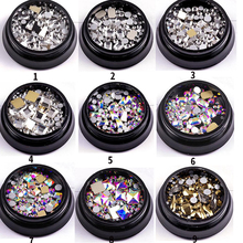 Nail Art Decorations All For 10 Design DIY Gem Crystal Colorful Rhinestones Nails Accessoires Diamonds Stones 1Box
