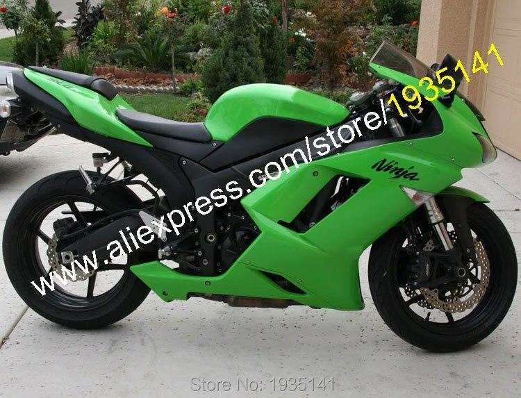 Hot Sales,For Kawasaki Ninja ZX-6R 07 08 ZX 6R 636 ZX636 2007 2008 ZX6R Green Aftermarket ABS Fairing Kit (Injection molding)