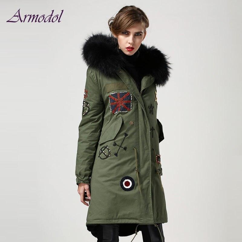 UK Style Flag Beading Long Parka Women Jacket Big Raccoon fur Hooded Fashion Beading Winter Windcoat Factory Price