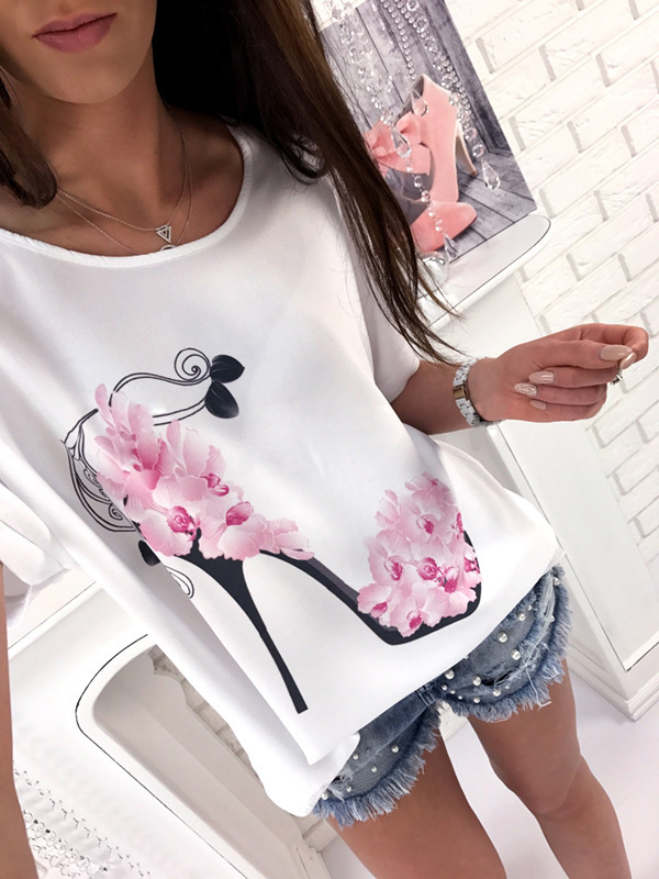 2018 Women Short Sleeve High Heels Printed Tops Beach Casual Loose Blouse T Shirt