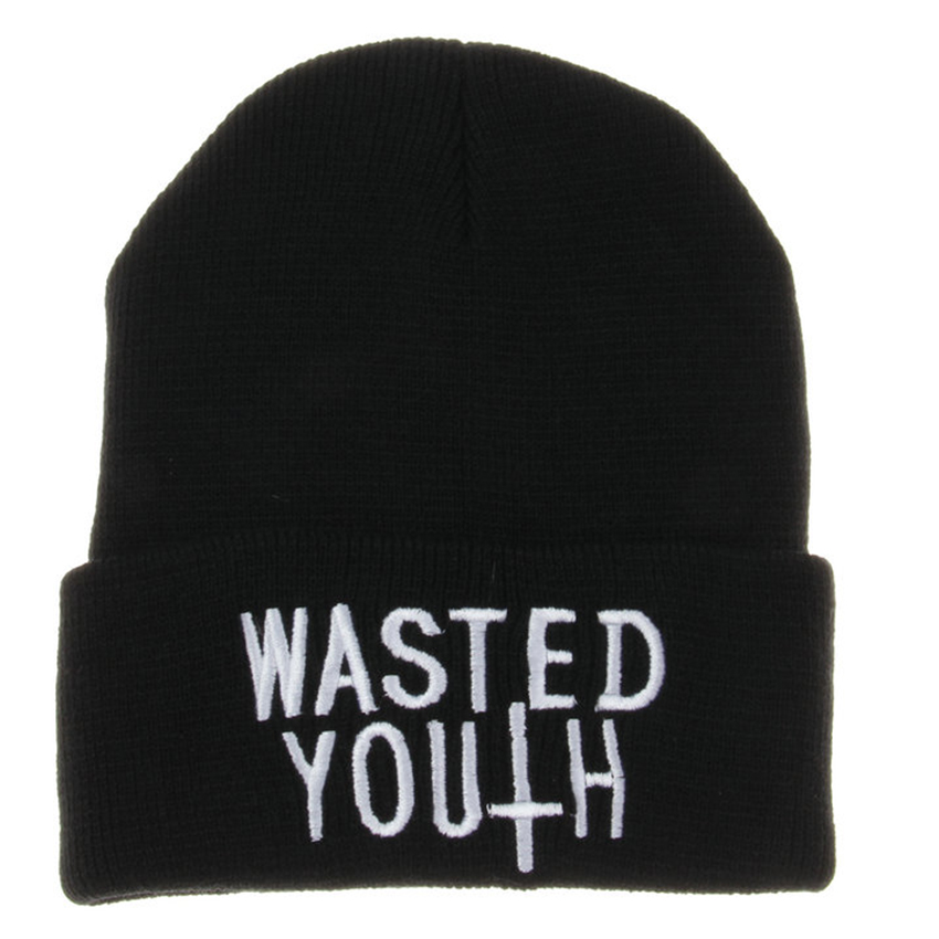 Wholesale & Retail Hot Sale Letter Wasted Youth Beanie Toca Men Women Autumn Winter Knitted Cap Casual Gorros Unisex Solid Hats rwby letter hot sale wool beanie female winter hat men