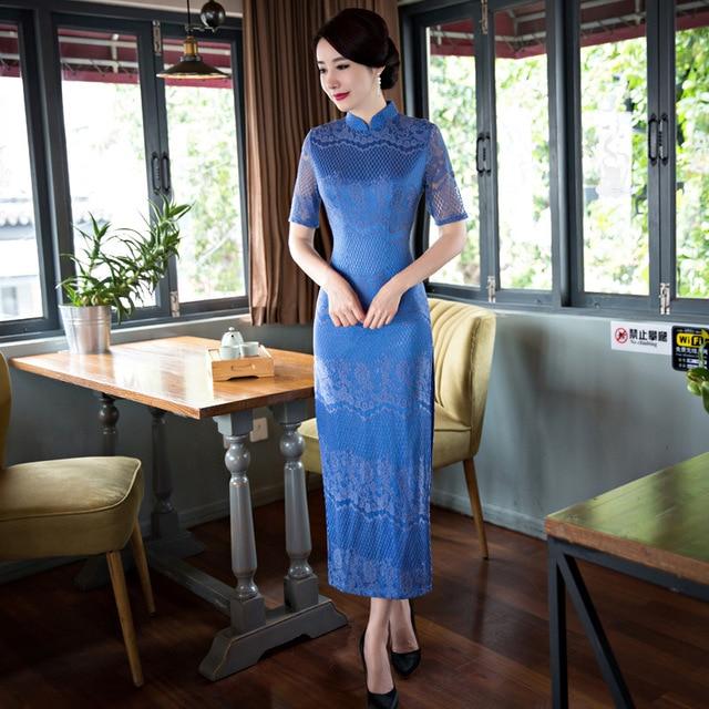 Blauwe zijde jurk