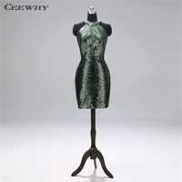 CEEWHY Halter Short Formal Party Dress Sequin Gown Mermaid Dress Elegant Cocktail Dresses for Women Vestidos Coctel Mujer