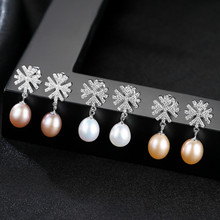 YUEYIN Silver 925 Earrings for Women Pearl Micro Pave Cubic Zircon Snow Dangle Wedding Jewelry 3 Colors