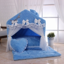 Warm and soft dog room lace door pet house cute kennel self-heating coral velvet for easy cleaning