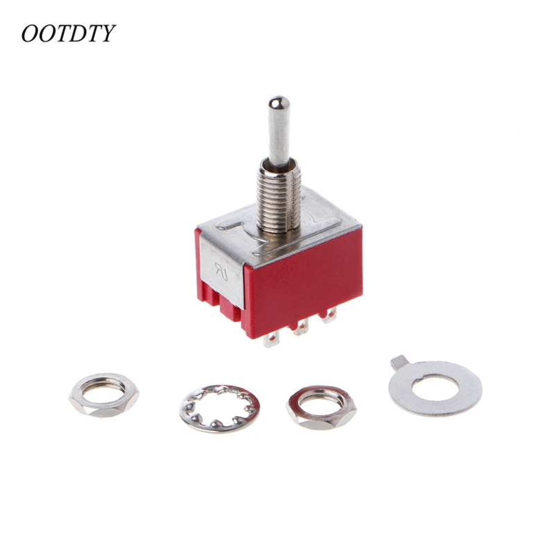 OOTDTY Rot <font><b>9</b></font> <font><b>Pin</b></font> AUF-OFF-ON 3 Position Mini Kippschalter AC 6A/125 v 3A /250 v image
