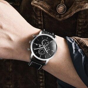 Image 2 - 2019 Yeni BENYAR erkek Saatler Rahat Moda Chronograph/30 M Su Geçirmez/Spor Saatler Erkek Deri Kol Saati Mens reloj Hombre