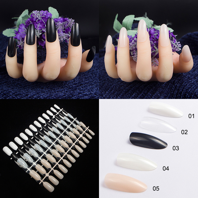 24Pcs New acrylic oval head fake nails Black Natural White ...