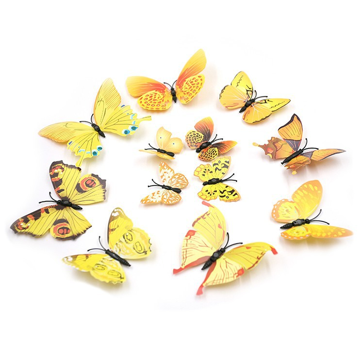 Hot 12Pcs/lot PVC 3D Butterflies Wall Stickers Decors Art Stickers ...