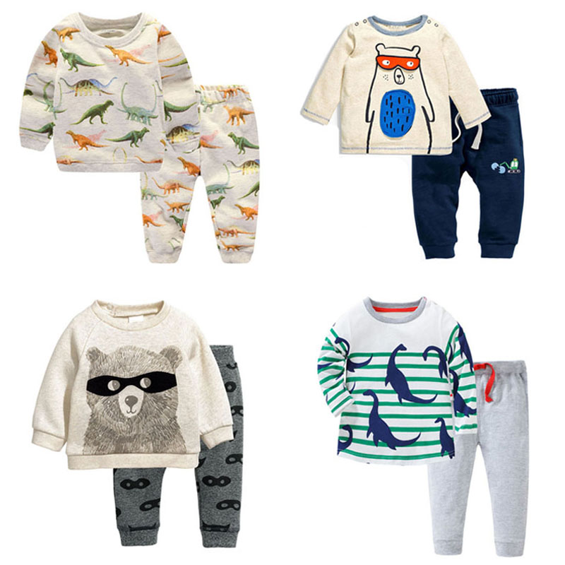 New 2018 Brand Quality 100% Cotton Baby Boys Clothing Set  Long Sleeve t shirt 2pc Children Suits Baby Boy Clothes Set Kids Boys 2pcs children outfit clothes kids baby girl off shoulder cotton ruffled sleeve tops striped t shirt blue denim jeans sunsuit set