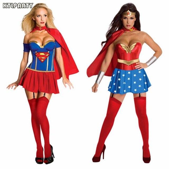 ktlparty super fille dames wonder woman costume fantaisie robe femmes halloween costumes bleu femmes super - Super Heros Fille