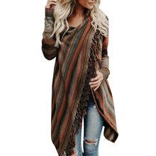 1ad7ed07914 Elegante mujer Otoño Invierno suéteres mujeres borla Irregular Pullovers de  punto, suéter Poncho chal de abrigo chaqueta Mujer