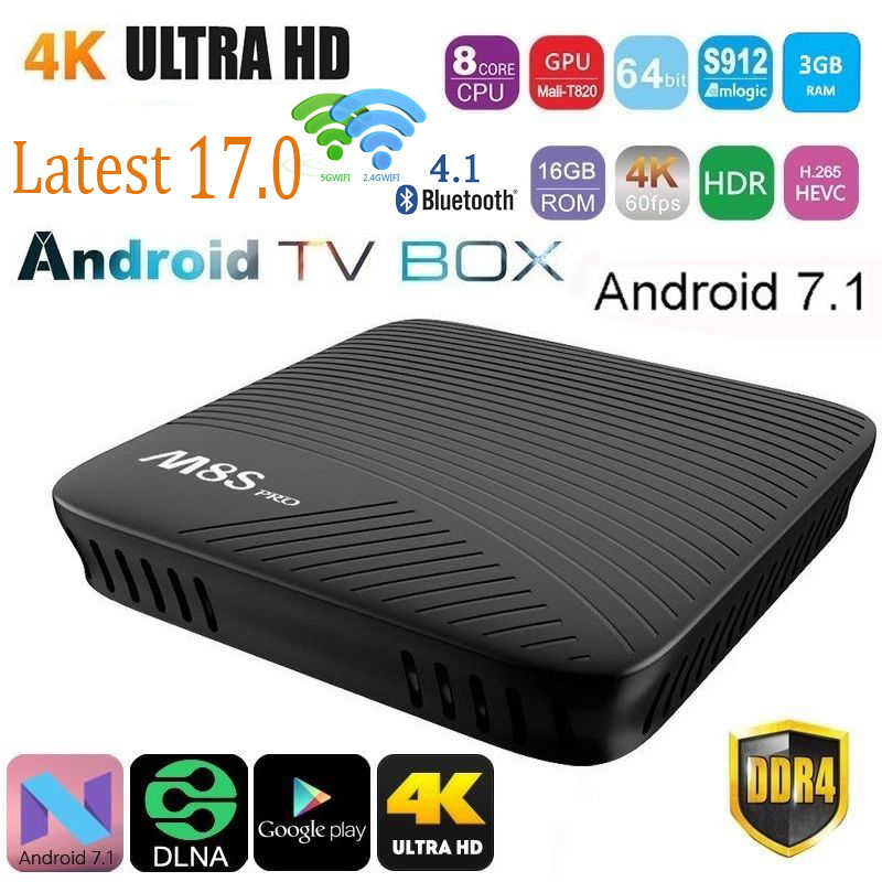 M8S PRO Smart Android 7 1 TV Box Amlogic S912 Octa-core 3GB DDR4 32GB  2 4G&5G WiFi BT 4 1 Airplay Miracast 4K Media player