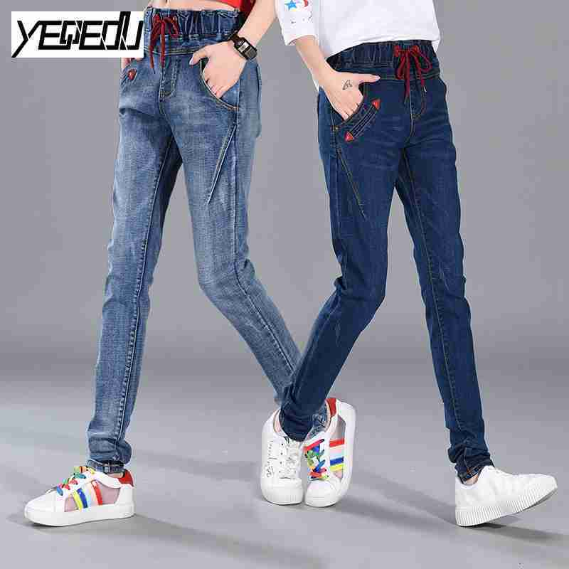 #3071 Spring 2019 High Waisted Jeans Women Harem Big Size Skinny Casual Loose Elastic Waist Boyfriend Jeans For Women Size 26-34