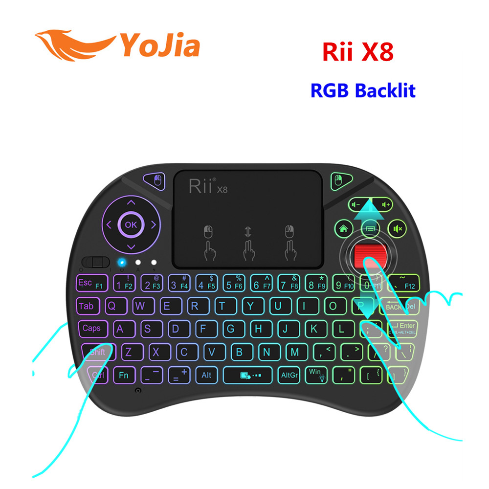 Newest 2.4G Fly Air Mouse Rii X8 ( i8x ) RGB Backlit Wireless Keyboard Russian English V ...