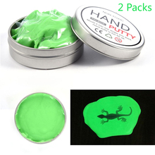 цена на 2 Packs Fluorescence Light Luminous DIY Glow In Dark Playdough Rubber Mud Plasticine Putty Clay Education Novelty Toys Green