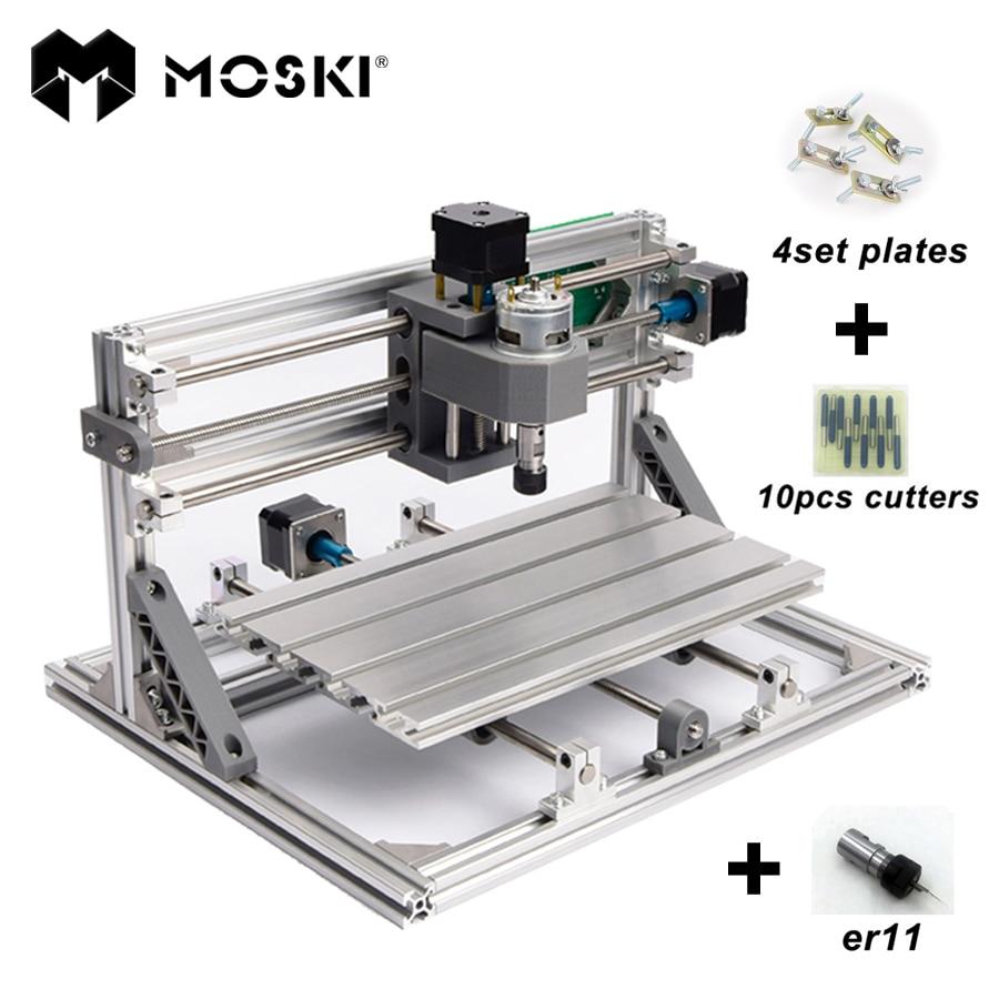 MOSKI CNC 2418 with ER11 mini cnc laser engraving machine Pcb Milling Machine Wood Carving machine