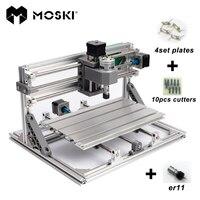 MOSKI, ЧПУ 2418 с ER11, мини ЧПУ для лазерной гравировки, Pcb фрезерный станок, резьба по дереву, ЧПУ, cnc2418, лучшие подарки