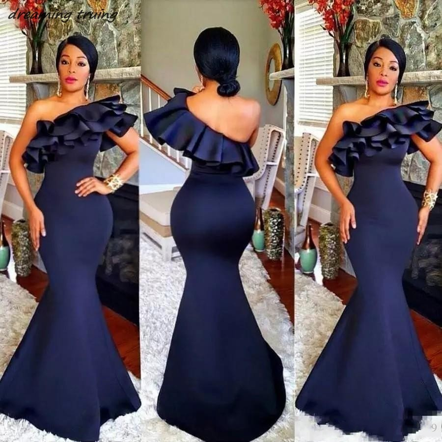 South Africa Dark Blue Mermaid Evening Dresses One Shoulder Backless Black Girls Women Formal Gown Prom Dress Vestido Largo 2019