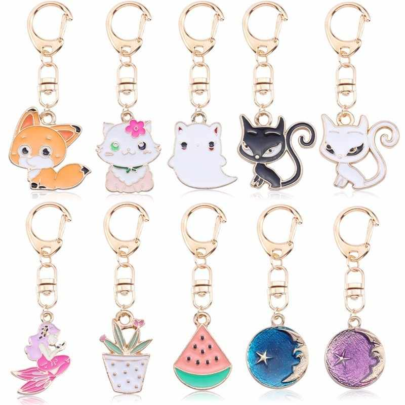 DIY Anime Ainimal Cute Cat Kechain For Women Kawaii Kitty Keychain Fox Mermaid  Moon Metal Key Chain Jewelry Gift Drop Shipping