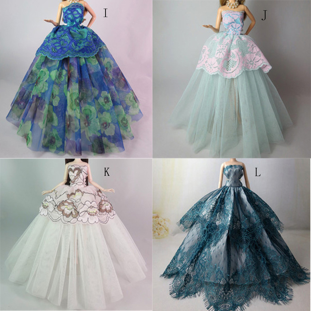 Doll Accessories Beautiful Elegant Wedding Dresses Clothes Evening Dress for Barbie Wholesale high quality wedding dress doll 45cm 55cm beautiful elegant pink feather dhl or fedex