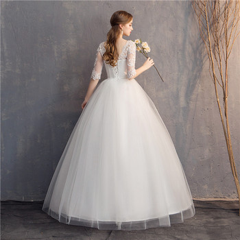 Do Dower Lace Embroidery Half Sleeve 2019 Wedding Dresses Long Train Wedding Gown V Neck Elegant Plus Size Vestido De Noiva 6