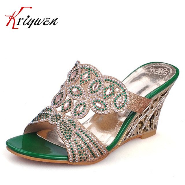 f12eaf130d0 Hot sell Luxury crystal party Dating Slides for Women Fashion Rhinestone  wedges open toe shoes Elegant ladies green gold sandals