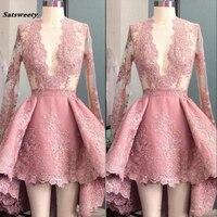 Sexy Глубокий v образным вырезом Здравствуйте Lo платья невесты розовый персик с длинным рукавом Аппликация рюшами Короткие Выходные туфли на