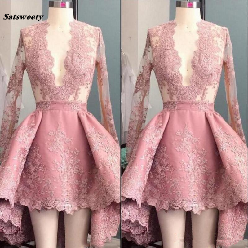 Sexy Deep V-Neck Hi-Lo   Bridesmaid     Dresses   Peach Pink Long Sleeve Applique Ruffle Short Party Prom   Dresses