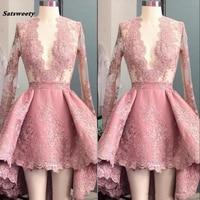 Sexy Deep V Neck Hi Lo Bridesmaid Dresses Peach Pink Long Sleeve Applique Ruffle Short Party Prom Dresses