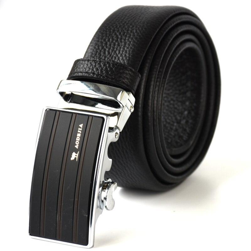 Мужские бизнес ремни автоматическая застежка для парня простой Формальные дизайн натуральная кожа Жан ремень черный цвет 130 длина