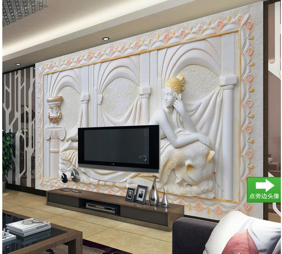 Wallpapers For Living Room Relief European Style People Mural TV Backdrop Design Window Wallpaper Home Decoration In From Improvement
