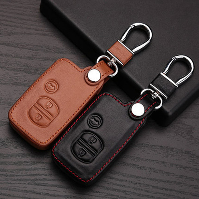 leather car key cover for Toyota Camry Highlander Prado Crown Land Cruiser Prius vitz 3 button smart key case protector case