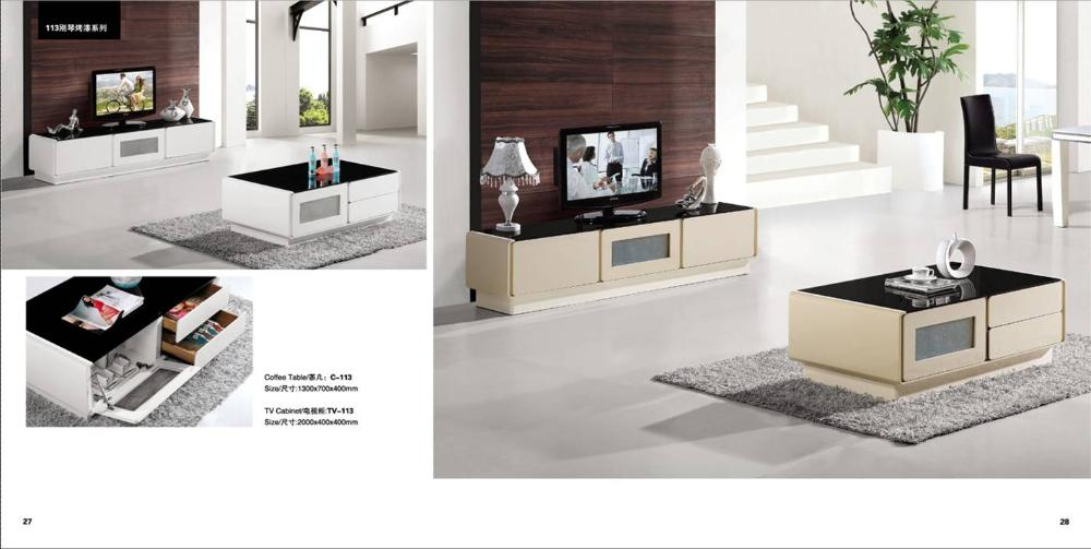White / Beige Furniture Set Living Room Coffee Table and TV Cabinet ...