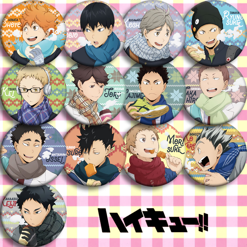 Japan Anime Haikyuu JOBIO Cosplay Badge Cartoon Collection Bags Badges For Backpacks Button Clothes Brooch Pins Gifts