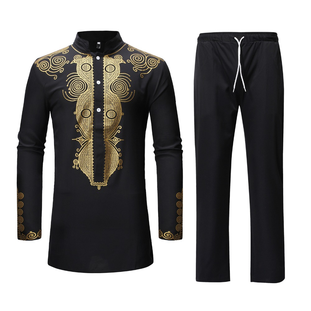 Black African Dashiki Print Top Pant Set 2 Pieces Outfit Set 2019 Traditional Men African Clothes Casual African Suit For Men(China)
