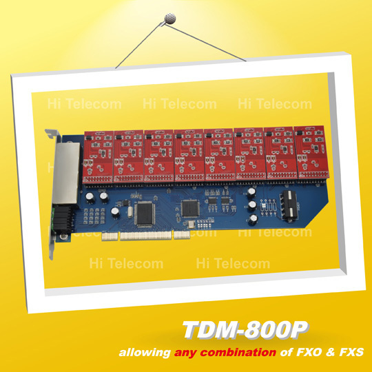 TDM800P 8 Ports FXO / FXS asterisk card for voip ippbx ip pbx call center trixbox elastix, FXO/FXS pci card